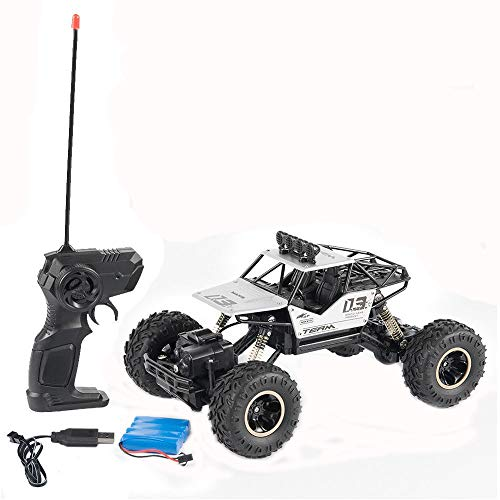 Kasien RC Car Toy, 1:18 4WD RC Cars Alloy Speed 2.4G Radio Control Alloy Off-Road Trucks Toys Gift (Silver)