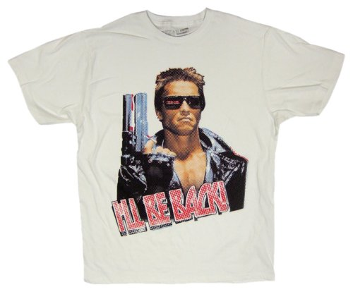American Classics Men's Terminator I'Ll Be Back T-Shirt,Dirty White,Small