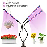 Grow Light Plant Lights for Indoor Plants Auto ON & OFF Every Day 27W Triple Head Spectrum Grow Lamp, High Power LED, 10 Dimmable Levels, 3/9/12H Timer Adjustable Gooseneck for Hydroponics Greenhouse