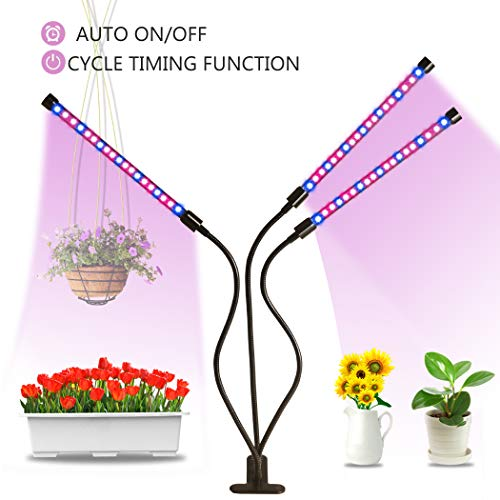 Grow Light Plant Lights for Indoor Plants Auto ON & Off Every Day 27W Triple Head Spectrum Grow Lamp, High Power LED, 10 Dimmable Levels, 3/9/12H Timer Adjustable Gooseneck for Hydroponics Greenhouse Review