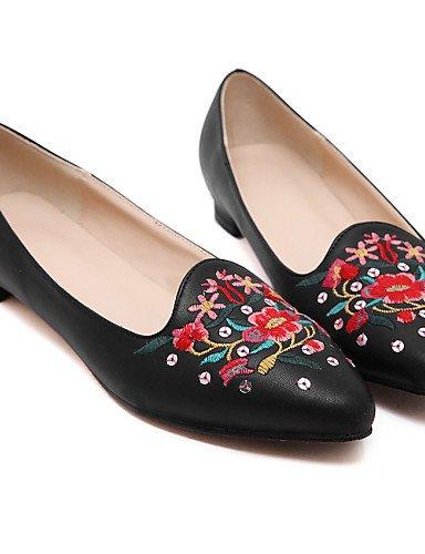 eu39 talón Toe punta uk6 piel PDX black de vestido negro plano Toe cerrado de us8 Flats mujer cn39 zapatos casual wRxwT4pCq