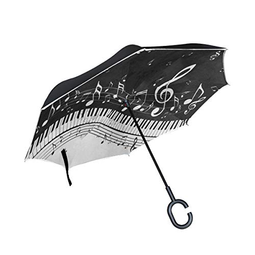 Inverted Umbrella Abstract Piano Music Note Black Double Layer Reverse Umbrella for Car Windproof UV Protection Big Straight with C-Shaped Handle