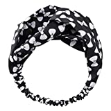 LANWF Printed Bow Headbands Vintage Hairband Elastic Head Wrap Turban Knotted Cute Hair Accessories,Black