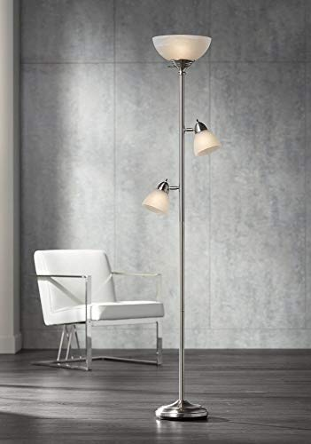 Ellery Modern Torchiere Floor Lamp 3-Light Brushed Steel Frosted White Glass Shades for Living Room Reading Bedroom Office - 360 -