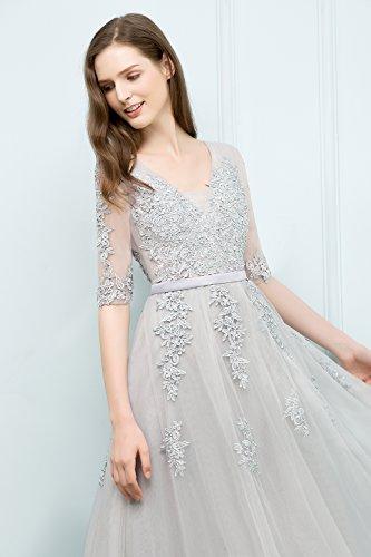 Linie A Misshow Tüll Prom Elegant 2 Spitzenkleid Ballkleid Mint 1 Damen Abendkleid Ärmel xYqwr0YE