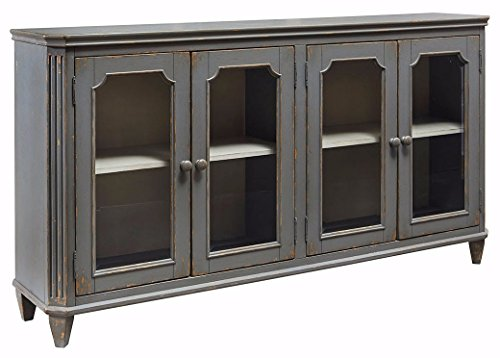 Room Living Provincial - Ashley Furniture Signature Design - Mirimyn 4-Door Accent Cabinet - Antique Gray Finish - Glass Inlay Doors