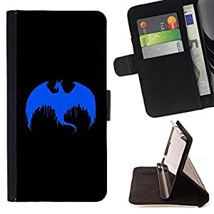 DEVIL CASE - FOR Apple Iphone 5C - Blue Dragon Paint Art Drawing Painting Dropping - Style PU Leather Case Wallet Flip Stand Flap Closure Cover