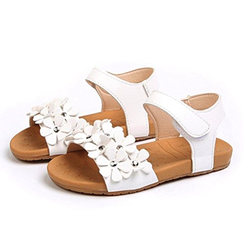 Sinwo Summer Toddler Kid Girl Sandals Floral Sole Kids Children Princess Sandals Shoes Beach (1T, White) ()