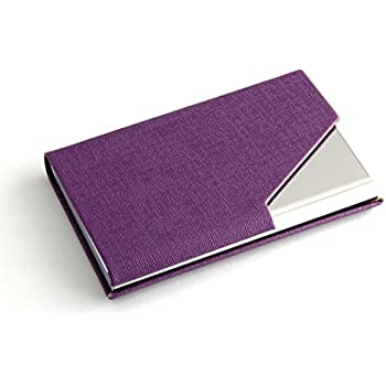 Amazon business card holder purple owl aluminum flip case partstocktm business name card holder luxury pu leather stainless steel multi card colourmoves Image collections