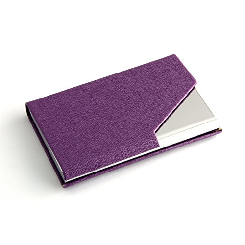 Partstock(TM) Business Name Card Holder Luxury PU Leather & Stainless Steel Multi Card Case,Business Name Card Holder Wallet Credit card ID Case / Holder For Men & Women - Keep Your Business Cards Clean, Crisp & Ready To Impress, with Magnetic Shut.(Purple)