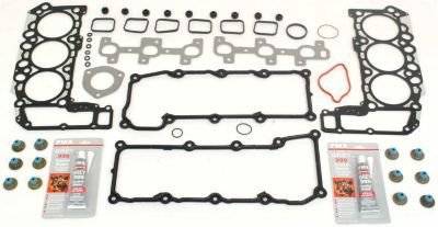 Evan-Fischer EVA12372042394 Engine Gasket Set Cylinder head Includes 9 cover bolt gaskets 2 exhaust manifold 1 pipe 6 intake 11 rubber seals silicon pastes valve and 12 stem (Exhaust Pipe Paste)