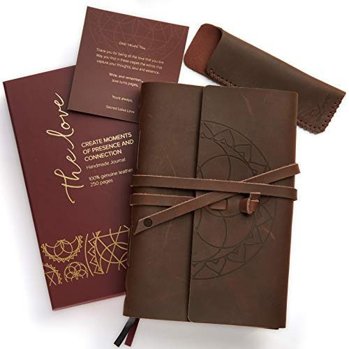 Leather Journal with LINED Pages + Pen Holder. Genuine Brown Leather Writing Notebook + Travel Diary. Handmade + Bound 8.75 x 6 inch. Beautifully Packaged. Perfect Gift for Men & Women.