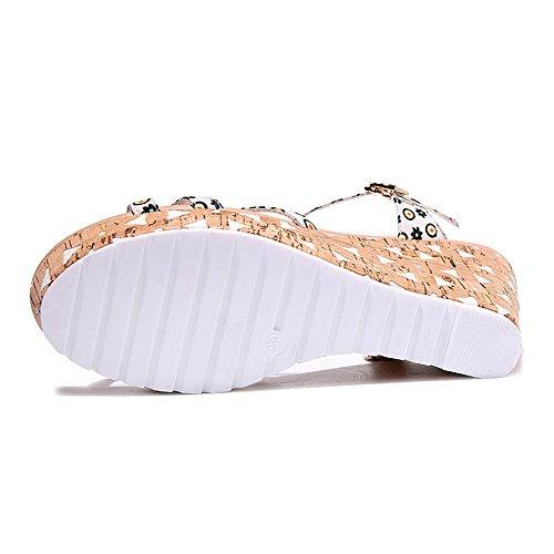 The Heels Wedge Beige Sandals Women's High Across WENDYWU Platform Top 6w7IqnB