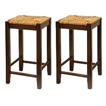 Winsome Wood Bar Stool, 24-Inch Rush Seat Walnut Finish, Set of 2