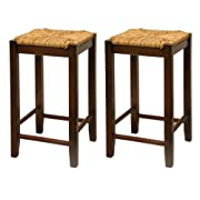 Bar Stool, 24-Inch Rush Seat Walnut Finish S/2, Set Of Two