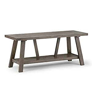 SIMPLIHOME Dylan SOLID WOOD 48 inch Wide Entryway Bench Open Bottom Shelf Modern Industrial inDriftwood