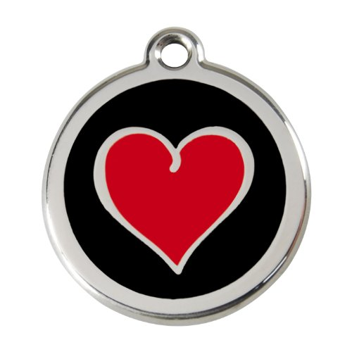 Red Dingo ~ Stainless Steel with Enamel Pet I.D. Tag - Heart Black (USPS Shipping W/ Tracking) (Large - 1.5