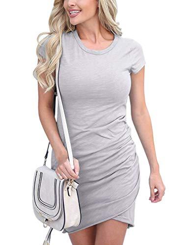 Women's Crew Neck Ruched Stretchy Tulip Hem Bodycon Short Mini Dress T Shirt Sheath Dresses (XL, 04Gray)