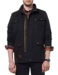 Men's Stylish Loose Fit Cotton Stand Collar Jacket Medium Long Outerwear Coats