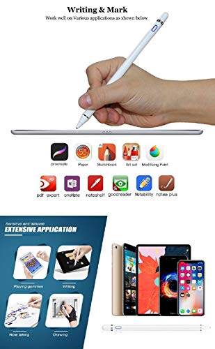 Stylus Pencil Compatible for Apple,Active Stylus Pens for Touch Screens,Smart Rechargeable Capacitive 1.5mm Fine Point iPad Pen and Most Tablets on Touchscreen Devices Stylus with Pen (White)