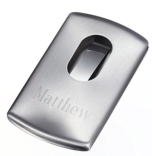 Personalized Push Satin Finish Business Card Case with Free Engraving