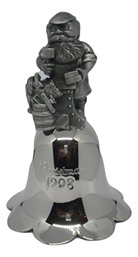 J Fox Galleries 1998 Wallace Large Santa Annual Bell - Christmas Silver Plate & Pewter Bell - Original Box