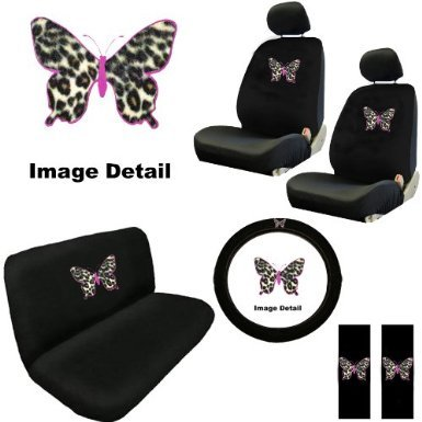 Pink Butterfly Outline w/ Cheetah Tan Animal Print Skin Auto Accessories Interior Combo Kit Gift Set - 11PC ()
