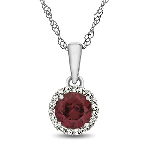 Finejewelers 10k White Gold 6mm Round Created Ruby with White Topaz accent stones Halo Pendant Necklace ()