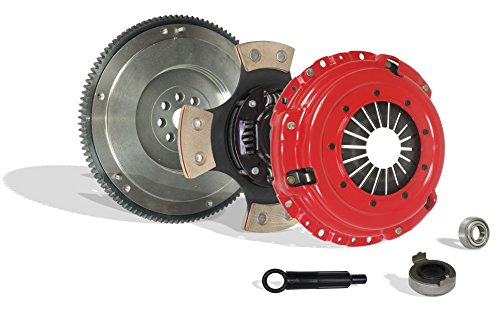 (Clutch Kit With Flywheel Works With Acura Integra Civic Si Del Sol Cr-V Type R 1994-2001 1.6L L4 1.8L l4 GAS DOHC Naturally Aspirated (Flywheel Spec: .112+; 4-Puck Disc Stage 3))