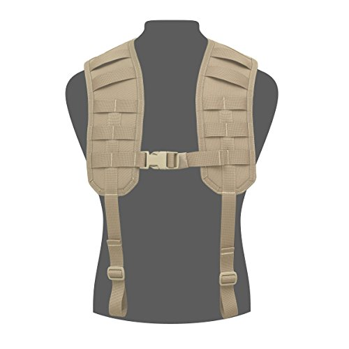 Warrior Assault Systems Load Bearing MOLLE Harness with Rear Panel, Coyote Tan (Warrior Assault Systems Low Profile Chest Rig)