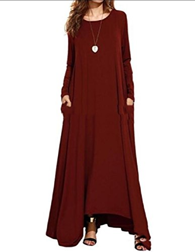 Long Women Sleeve Swing Style Basic Maxi Baggy Red Long Solid Coolred Dress Wine wqRpR