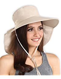 4a440f9f UV Protection Sun Hat with Neck Flap & Chin Strap - Packable & Stylish Wide  Brim Summer Hat for Women. Perfect for Beach Travels,…