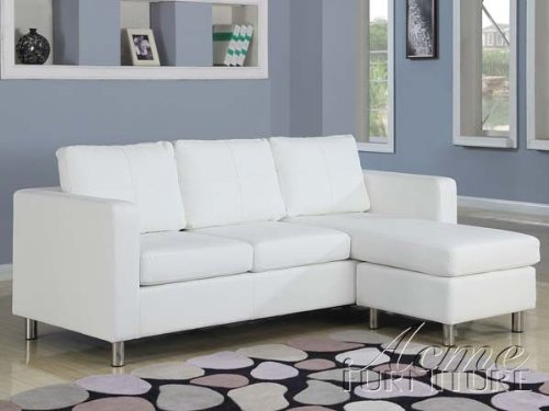 2 pc Kemen collection white leather like vinyl reversible apartment size sectional sofa with chaise
