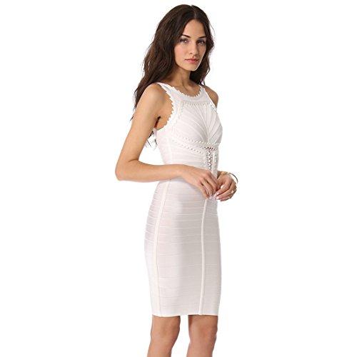 HLBCBG - Vestido - Sin mangas - para mujer Weiß - Weiß (2)