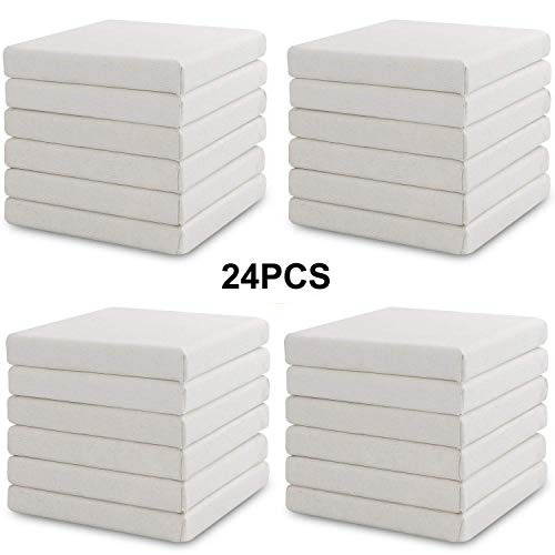 CBTONE Mini Canvas Panels 4'' x 4'', 100% Small Cotton Canvas Boards Paintings Craft Drawing Small Acrylics Canvas (Pack of 24) by CBTONE