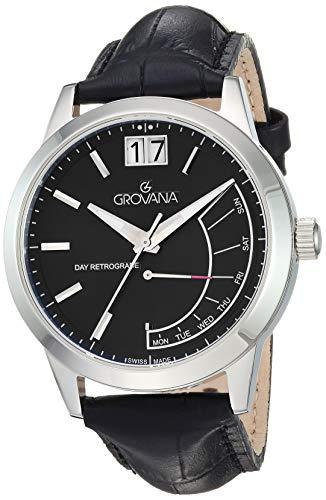 Grovana Men's 1722-1534 Retrograde Analog Display Swiss Quartz Black Watch