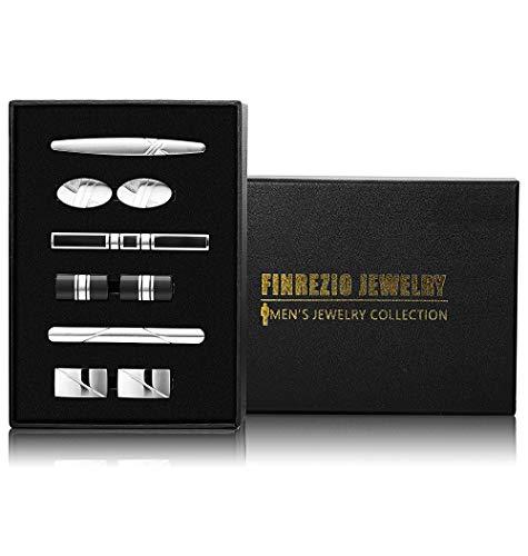 Finrezio 9 PCS Mens Tie Clips Cufflink Set Men Necktie Tie Bar Clips Wedding Business Accessories Gift ()