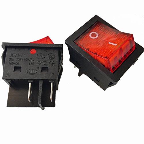 2pcs 4Pins 30A 125V/ 250V T85/55 1E4 Large Current Rocker Power Switches for Inverter Welding Machine JD03-A1 TUV CE CQC Certificate, Black Color (A1 Colour)