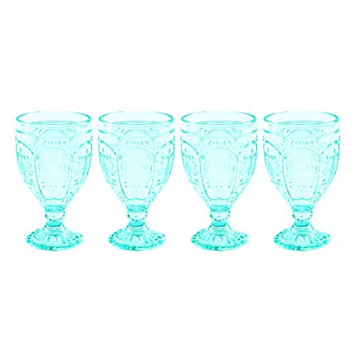 Fitz and Floyd 83-010 Trestle Collection Set of 4 Glass Goblets, 12-Ounce, Aqua