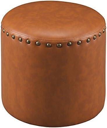 Kings Brand Furniture Nailhead Trim Upholstered Stool Ottoman Brown