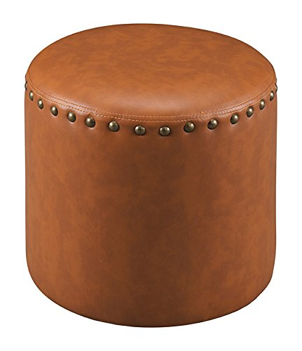 Kings Brand Furniture Nailhead Trim Upholstered Stool Ottoman Brown