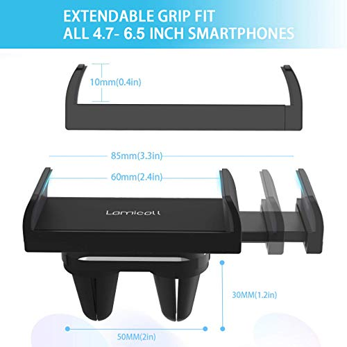 Car Phone Mount, Lamicall Car Vent Holder : Universal Stand Cradle Holder Compatible with Phone Xs Max XR 8 X 8P 7 7P 6S 6P 6, Samsung Galaxy S5 S6 S8 S9 S8+ S9+, Google, LG, Huawei, Other Smartphone by Lamicall (Image #4)