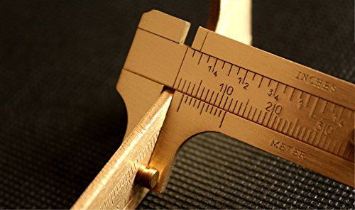 Shuxy Retro Vernier Caliper Copper Alloy Mini Brass Sliding Pocket Caliper Metal Double Scale for Measuring Gemstones and Jewelry Components Bead Wire Guitar Repair 120 mm/4.75