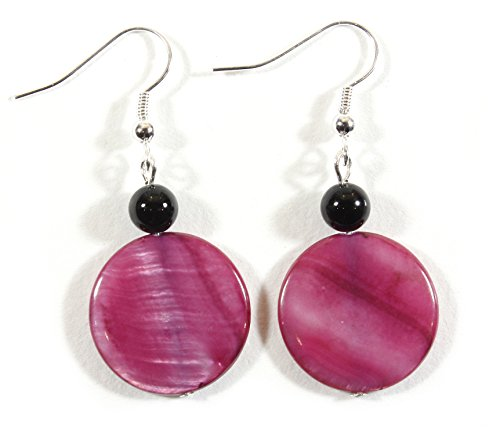 Style-ARThouse Raspberry Pi, Berry Color Mother of Pearl Earrings, Dangle 1.5 Inches