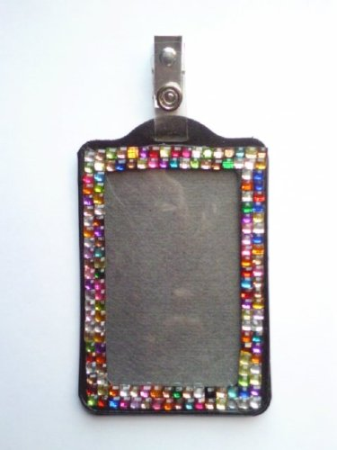 Rainbow Color Vertical Lined Bling Rhinestone Id Badge with Clip