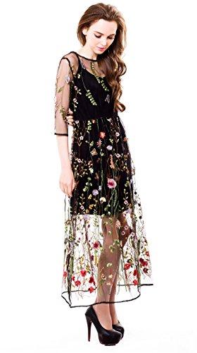 BaronHong Mujeres Florales Bordados Tul Prom Vestido Maxi Con Cami Vestido 3/4 Mangas Mangas tres cuartos