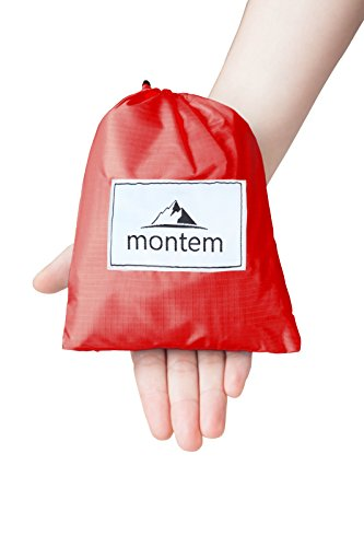 Montem Premium Pocket Blanket/Compact Picnic, Beach, Outdoor, Camping Blanket Made from Premium Soft and Lightweight Water Resistant Material Ideal for Camping/Traveling/Hiking (Red)
