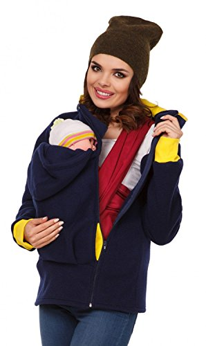 Zeta Ville - Womens Top Maternity Hooded Sweatshirt Babywearing Carrier - 032c (Navy, US 10/12, XL)