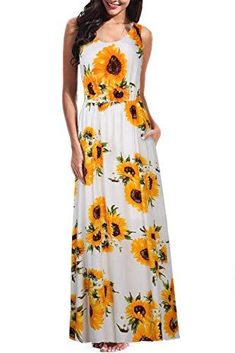 BBX Lephsnt Women's Summer Sleeveless Tank Top Floral Printed Contrast Dress Casual Long Maxi Dresses