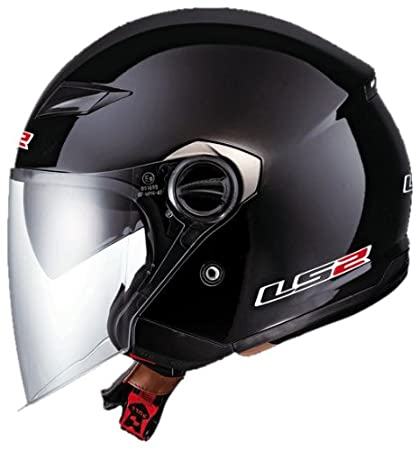 bd8c84a6 Image Unavailable. Image not available for. Color: LS2 Helmets OF569 Open  Face Motorcycle Helmet (Solid Gloss Black ...